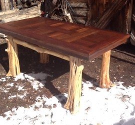 Rustic Log and Redwood Table